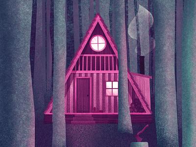 A Little Cabin in the Woods forests cabin woods forest design procreate art procreate digital painting digital illustration digital art digitalart