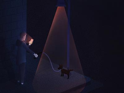 Taking Care of Business light phone night city dog dog walk procreate art procreate digital painting digital illustration digital art digitalart