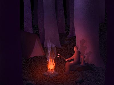 Camping Companion campfire camping night forest dog design procreate art procreate digital painting digital illustration digital art digitalart