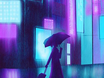 In All Weather travel rainy rain city lights city night design procreate art procreate digital painting digital illustration digital art digitalart