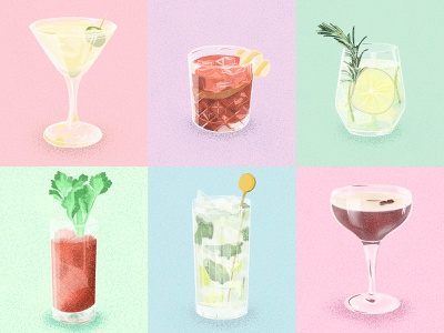 Cocktail Illustrations alcohol branding alcoholic alcohol cocktails illustration design procreate art procreate digital painting digital illustration digital art digitalart