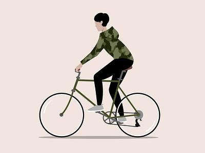 On Ya Bike character riding bicycle illustration city design procreate art procreate digital painting digital illustration digital art digitalart