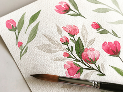 Floral Watercolors green pink elements watercolor flowers floral