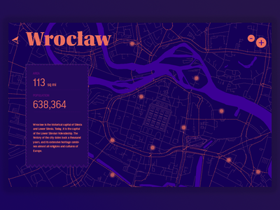 Map design for my city typography ui illustration dark webdesign wroclaw city map