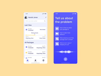 Delivery Voice Assistant packages voice assistant delivery icons rhinoda mobile app top popular ux ui dribbble design