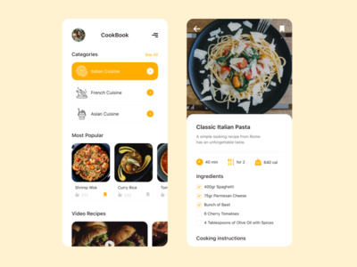Recipe App uxui ui ux top design popular mobile app mobile interface recipe book kitchen recipe food