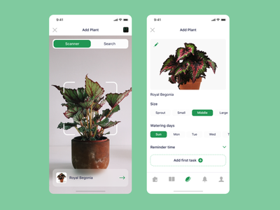 Smart Plant uxui ui ux dribbble popular top design mobile app interface mobile search scanner care plants