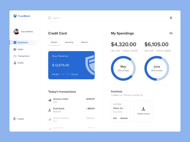 Online Bank uxui ui ux top popular dribbble interface design desktop credit money finance online bank