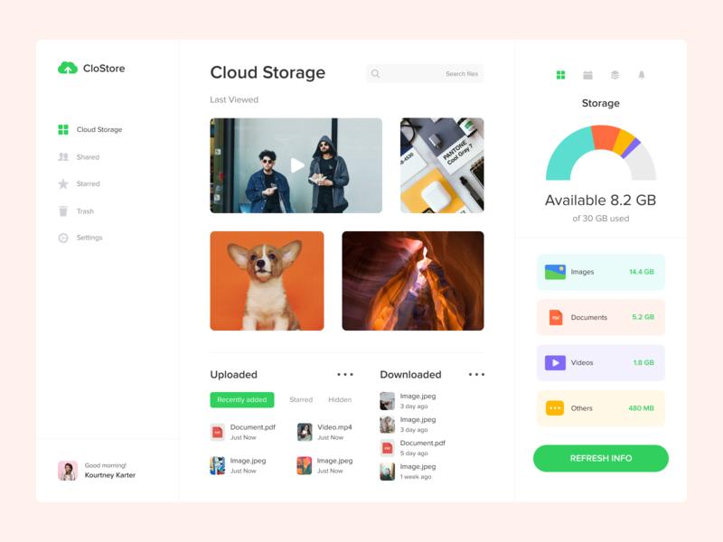Cloud Storage ux ui top popular design interface desktop concept download music video documents images storage cloud