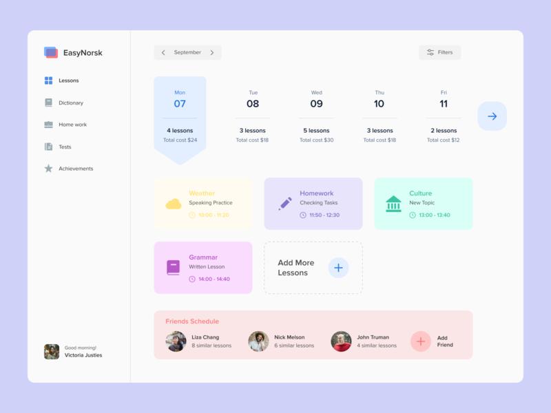 Language School dribbble uxui top popular interface design desktop lesson study norway school