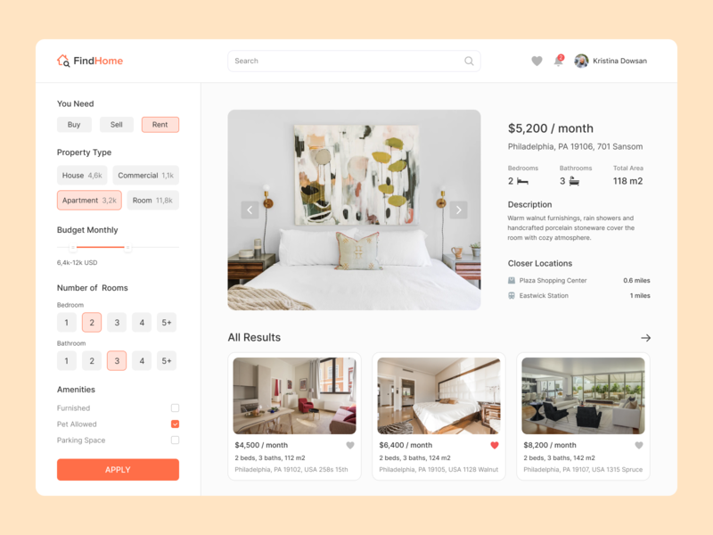 Find Home flat ui ux dribbble top popular interface desktop design sell buy rent hose home
