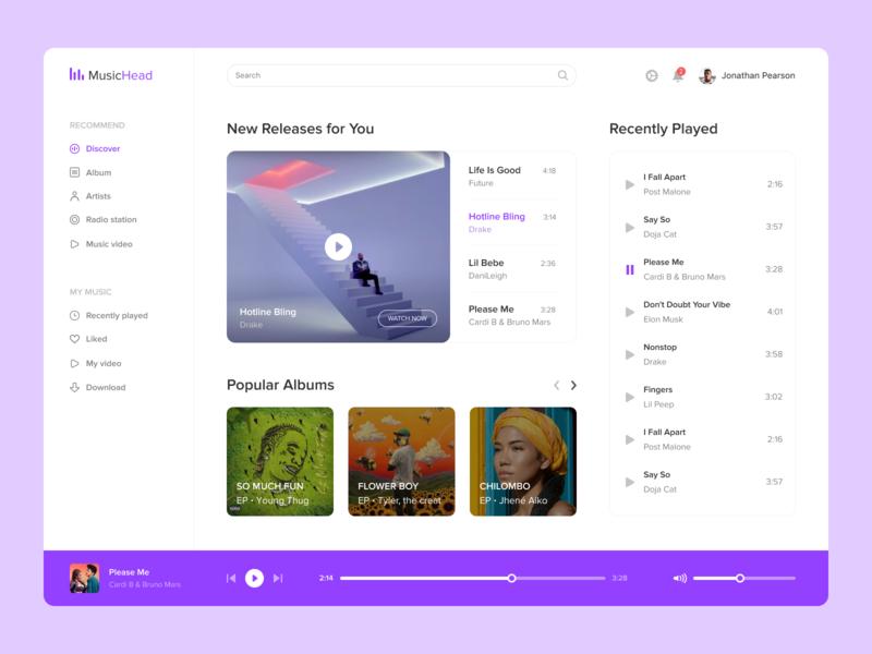 Music App dribbble top ui ux popular design interface desktop player artist app song music