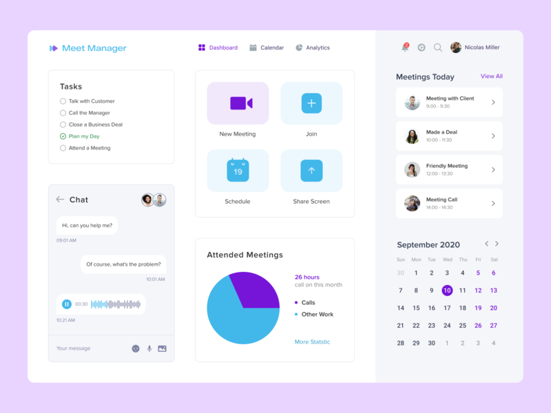 Meet Manager service ui ux top popular desktop interface design calendar chat meetings time plan