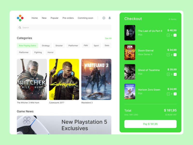 Game Store ui ux top app popular desktop design interface store ps5 xbox ps4 game