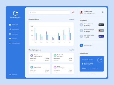 Financial Analytics uxui top popular interface design desktop app bank money income expenses analytics
