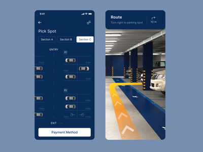 Parking App vector driver ui ux top popular design app mobile interface concept car parking