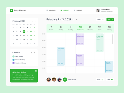 Daily Planner popular uxui top desktop design interface project week management time calendar planner