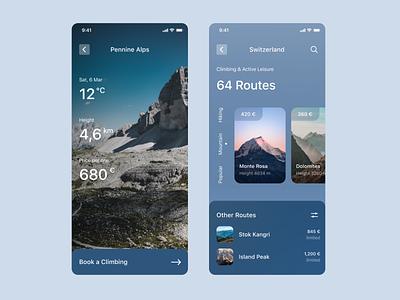 Active Leisure tourism app uxui top popular design mobile interface leisure hiking activity climbing mountain