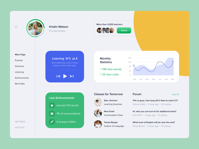 English  Learning App uxui popular desktop dashboad app design interface school classes statistic teachers achievement study learning english