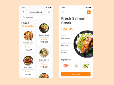 Food Delivery uxui app top popular design mobile interface cart nutrition spicy store shop delivery asian food