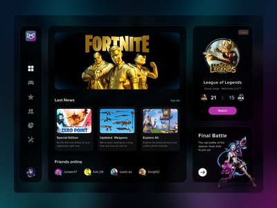 Gamers App uxui top popular design interface app gamers battle news rpg roleplay play legends fortnite game