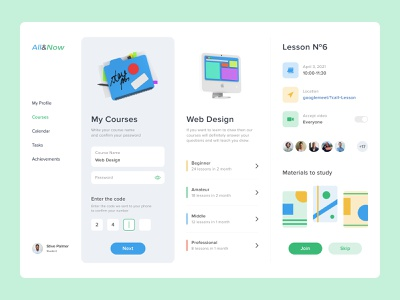 App for Courses desktop uxui top popular app interface design dashboad courses drawing webdesign lessons learning study