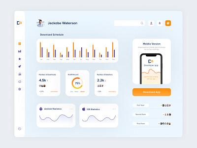 Developer App android ios uxui top popular design mobile interface dashboard app code developers team statistics downloads develop