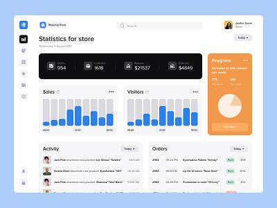 Online Store Statistics App uxui app top popular desktop dashboard interface design activity makeup progress customers orders sales statistics store
