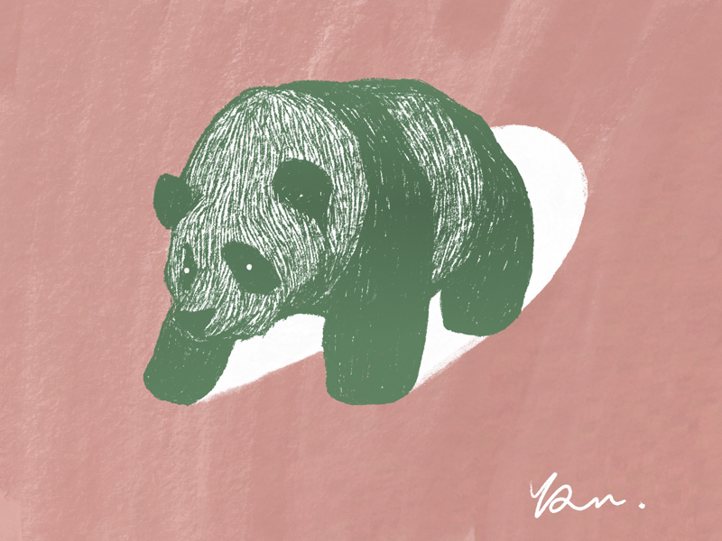 Green panda illustrate illustraor doodleart doodle animal art panda animal