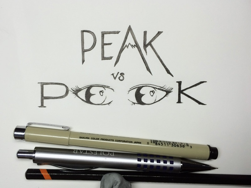 PEAK vs PEEK illustration micron lettering peak peek sans serif custom illustrative ink hand lettering hand drawn