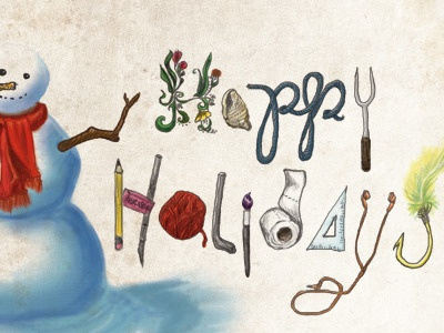 Snowman Greeting illustration snowman typography happy holidays holidays photoshop scarf snow yarn fishing hook brush paintbrush eraser digital pencil pen xacto flora flower shell triangle toilet paper carrot branches red scarf snow man ruler