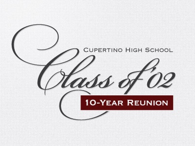 Class of 2002 10-Year Reunion bickham script pro logo reunion script