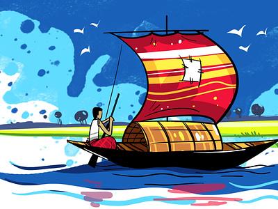 HOW TO DRAW A BOAT I BANGLADESHI BOAT DRAWING I BOAT AND RIVER S vector design drawing branding digitalart sketchart delowarripon delowarriponcreation cgwork illustration