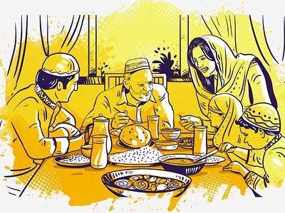 Ramadan Islamic Illustration By Delowar Ripon delowar ripon waiting for iftar islamic art ramadan islamic illustration branding digitalart logo drawing design cgwork sketchart illustration delowarriponcreation