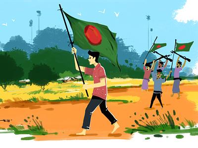 Bijoy Dibosh Illustration 2018 drawing cgwork design sketchart illustration delowarriponcreation