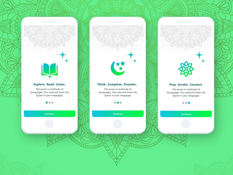 Quran Online Reading Mobile App Intro UI by vijayaragavan pr on Dribbble