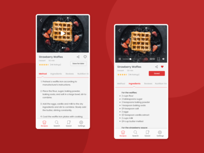 Mobile screens for a recipe app
