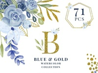 71 Blue and Gold Watercolor Collection Clipart