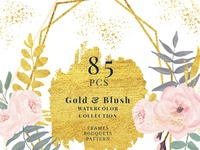 85 Blush And Gold Watercolor Floral Geometric Clipart
