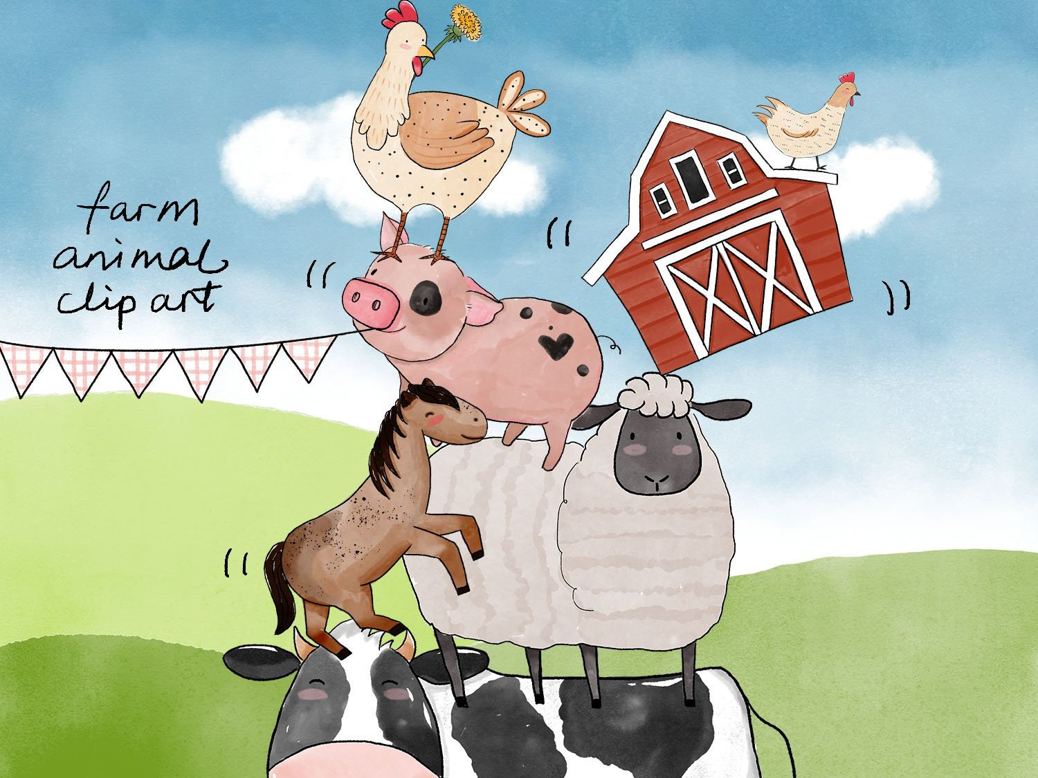 40 Watercolor Farm Animals Baby Shower Clipart Png Images By Turnip
