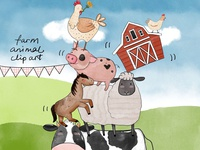 40 Watercolor Farm Animals Baby Shower Clipart PNG Images