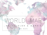 Watercolor World Map Clipart Download