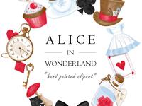 Watercolor Alice In Wonderland Clipart Set