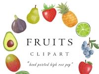 Watercolor Fruit Clipart PNG Download Set