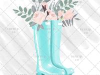 Watercolor Rain Boots Clipart PNG Sublimation Designs