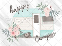 Watercolor Happy Camper Clipart PNG Sublimation Graphics