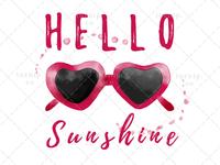 Hello Sunshine PNG Sunglasses Sublimation Clipart Graphic