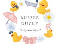 Watercolor Rubber Duck Clip Art Design