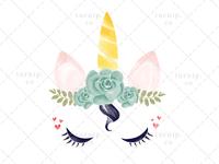 Unicorn Head Clipart PNG Sublimation Graphic