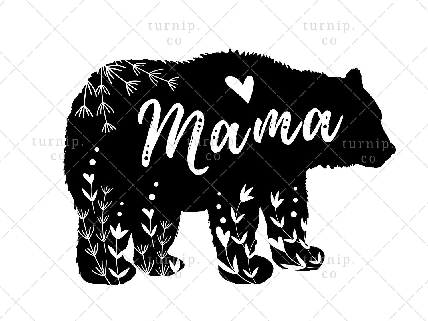 Mama Bear Clipart Sublimation Design Graphic mothers day clipart animal clipart silhouette clipart black and white clipart bear clipart quotes clipart cute branding illustration clipart design art turnip